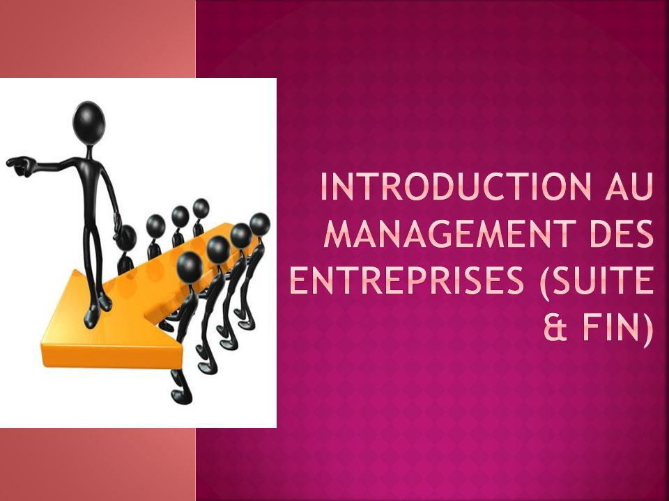 Introduction au management des entreprises (suite & fin)