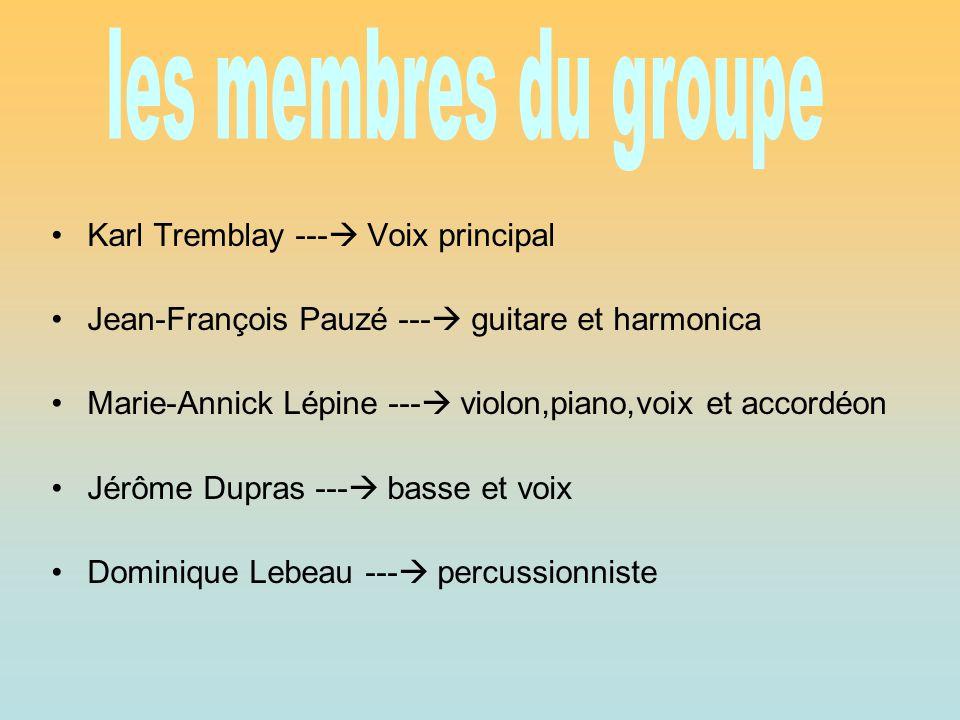 les membres du groupe Karl Tremblay --- Voix principal