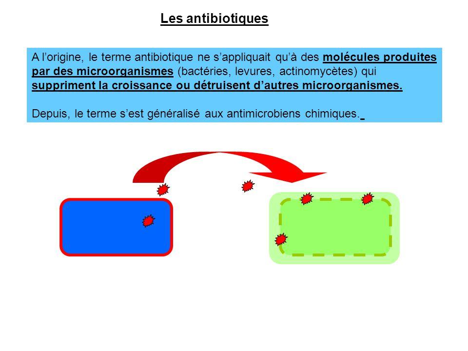 Les antibiotiques A l'origine, le terme antibiotique ne s'appliquait qu'à des molécules produites.