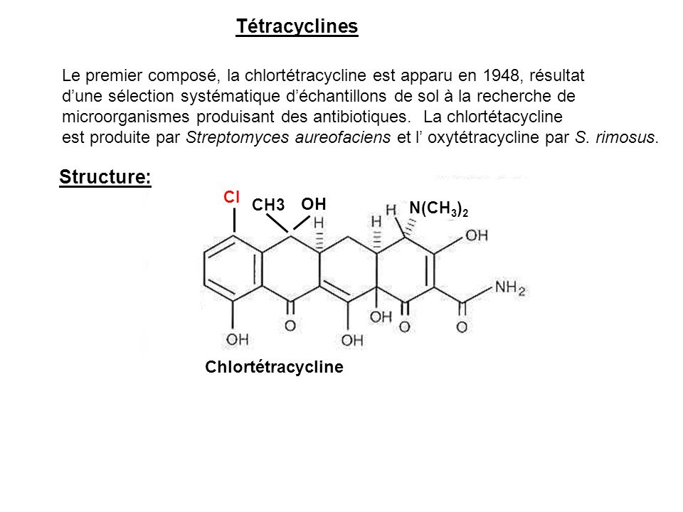 Tétracyclines Structure: OH
