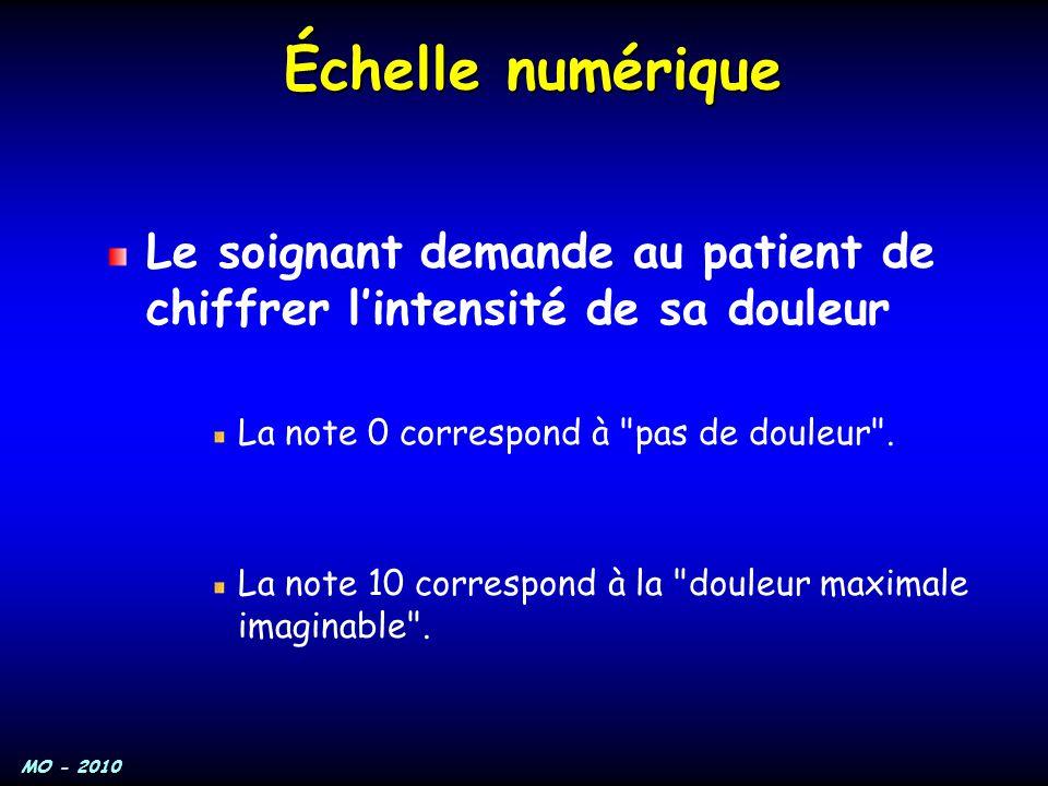 Échelle numérique Le soignant demande au patient de chiffrer l'intensité de sa douleur. La note 0 correspond à pas de douleur .