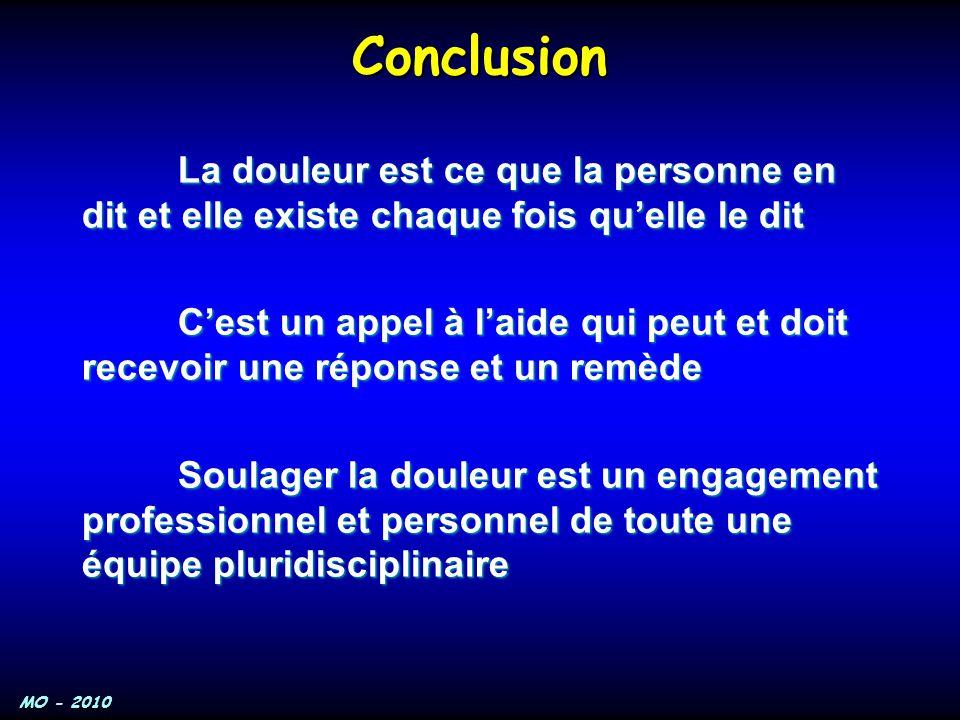 Conclusion La douleur est ce que la personne en dit et elle existe chaque fois qu'elle le dit.