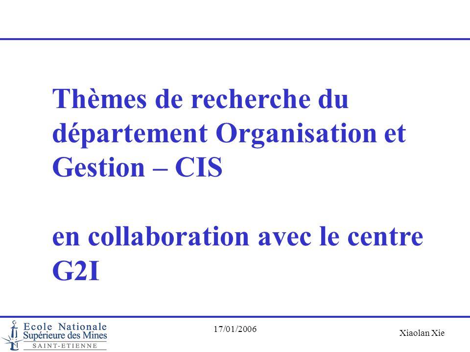 Thèmes de recherche du département Organisation et Gestion – CIS