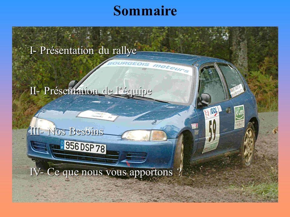 Sommaire I- Présentation du rallye II- Présentation de l'équipe
