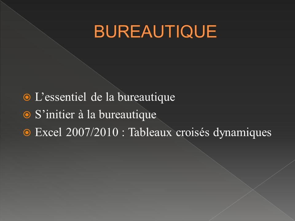 BUREAUTIQUE L'essentiel de la bureautique S'initier à la bureautique