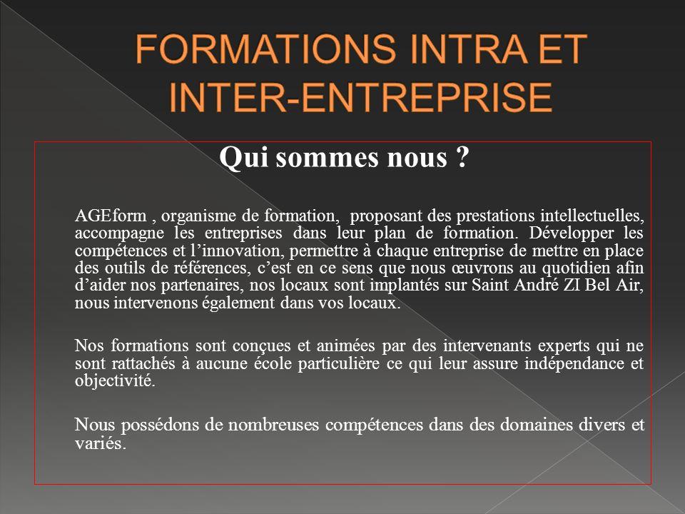 FORMATIONS INTRA ET INTER-ENTREPRISE