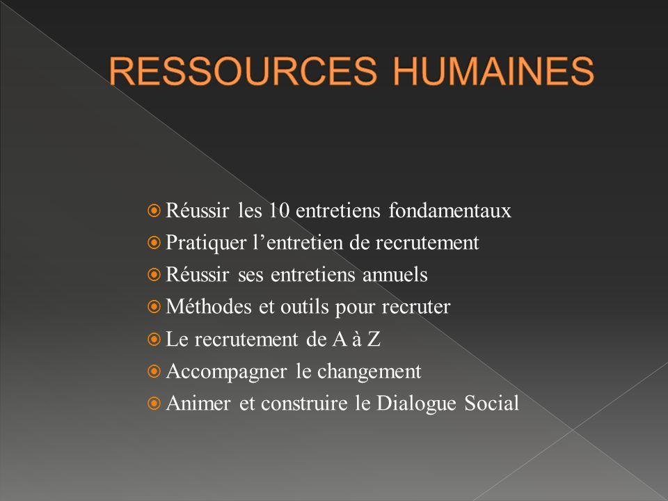 RESSOURCES HUMAINES Réussir les 10 entretiens fondamentaux