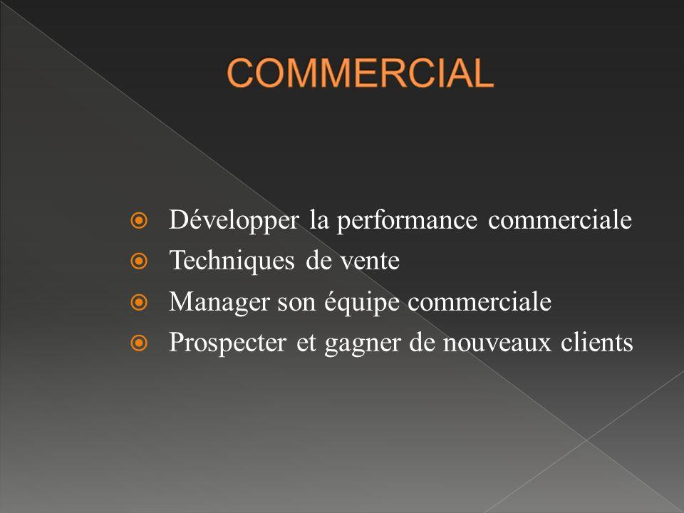 COMMERCIAL Développer la performance commerciale Techniques de vente