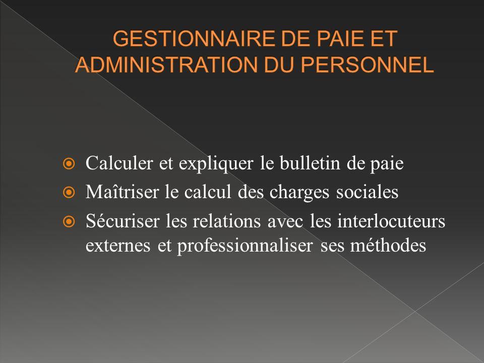 GESTIONNAIRE DE PAIE ET ADMINISTRATION DU PERSONNEL