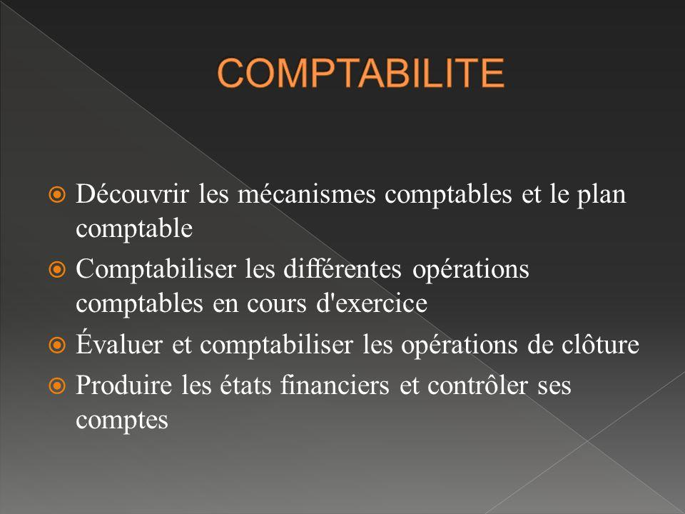 COMPTABILITE Découvrir les mécanismes comptables et le plan comptable