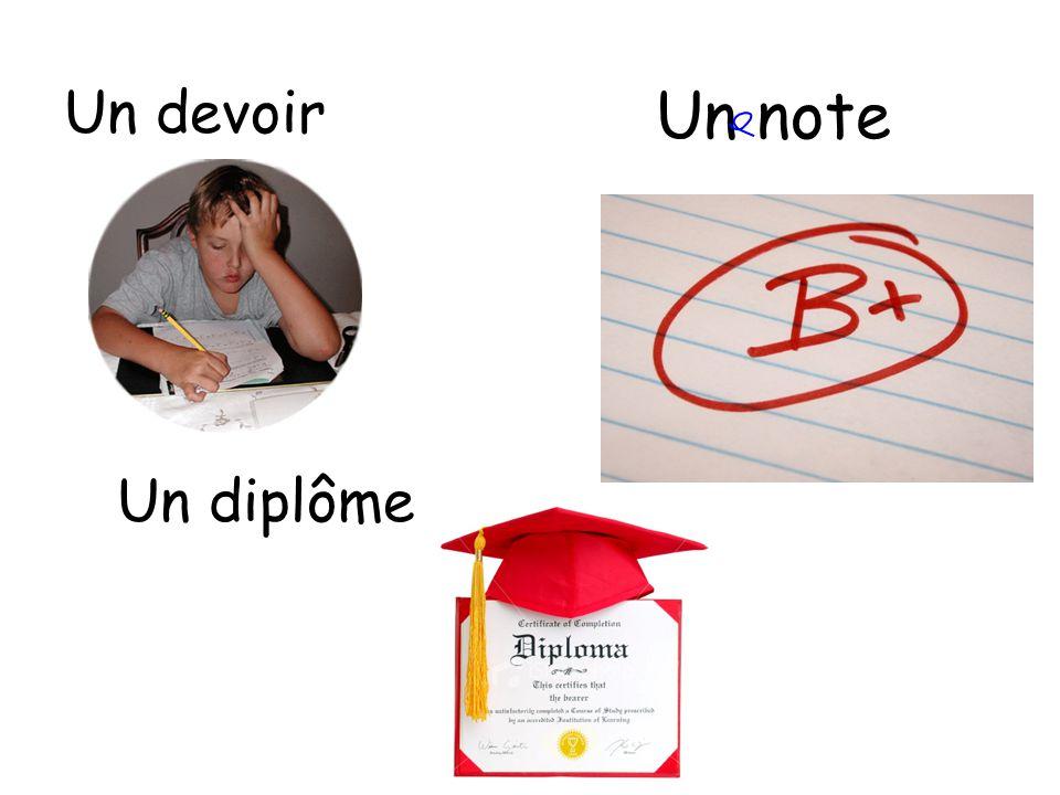 Un devoir Un note Un diplôme