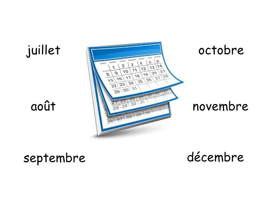 juillet octobre août novembre septembre décembre