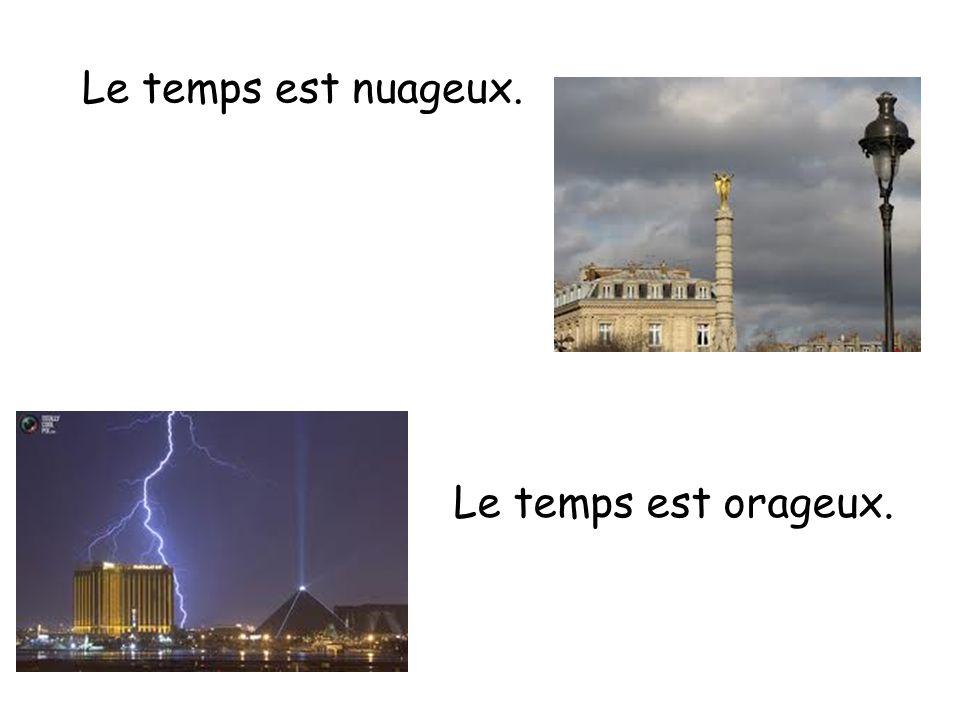 Le temps est nuageux. Le temps est orageux.