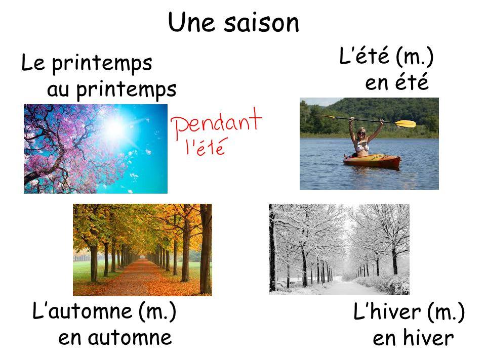 Une saison L'été (m.) Le printemps en été au printemps L'automne (m.)