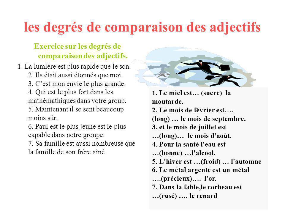 les degrés de comparaison des adjectifs