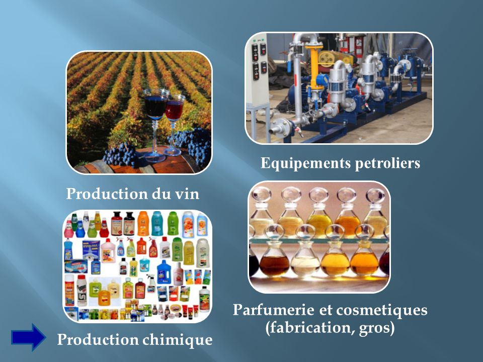 Equipements petroliers Parfumerie et cosmetiques (fabrication, gros)