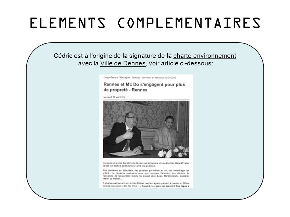 ELEMENTS COMPLEMENTAIRES