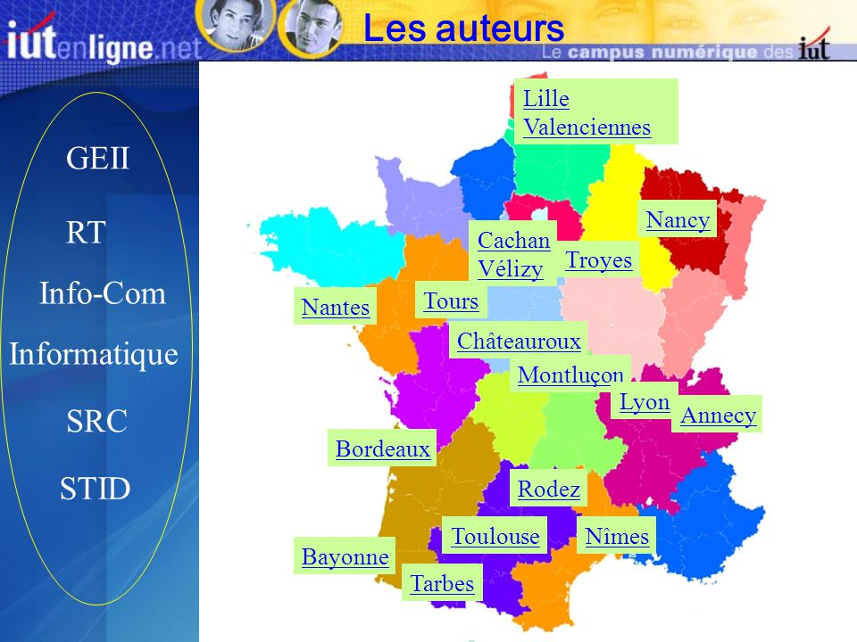Les auteurs GEII RT Info-Com Informatique SRC STID Lille Valenciennes