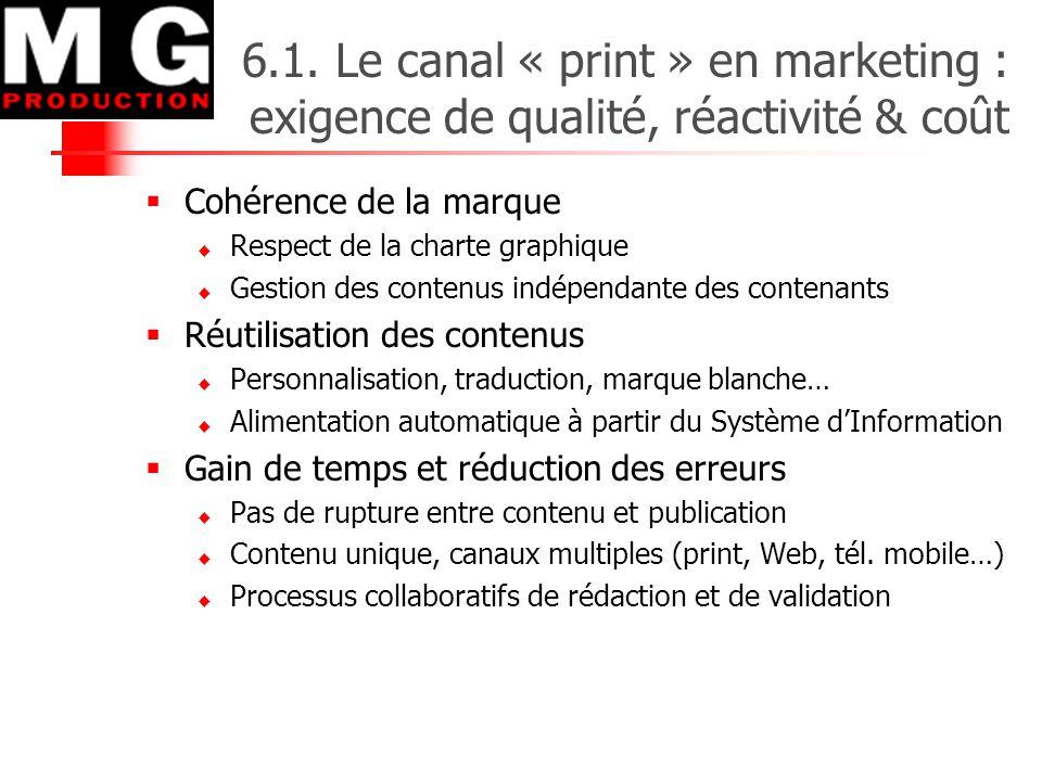 6.1. Le canal « print » en marketing : exigence de qualité, réactivité & coût