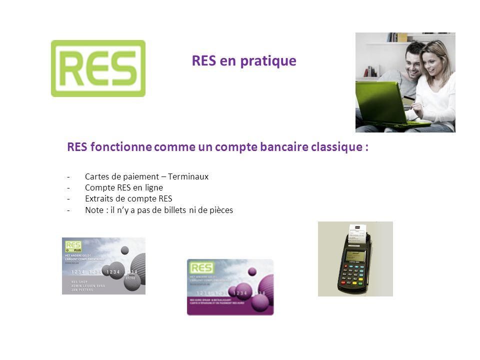 RES en pratique RES fonctionne comme un compte bancaire classique :