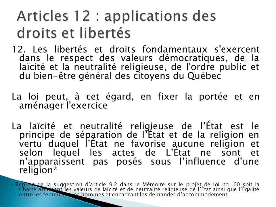 Articles 12 : applications des droits et libertés