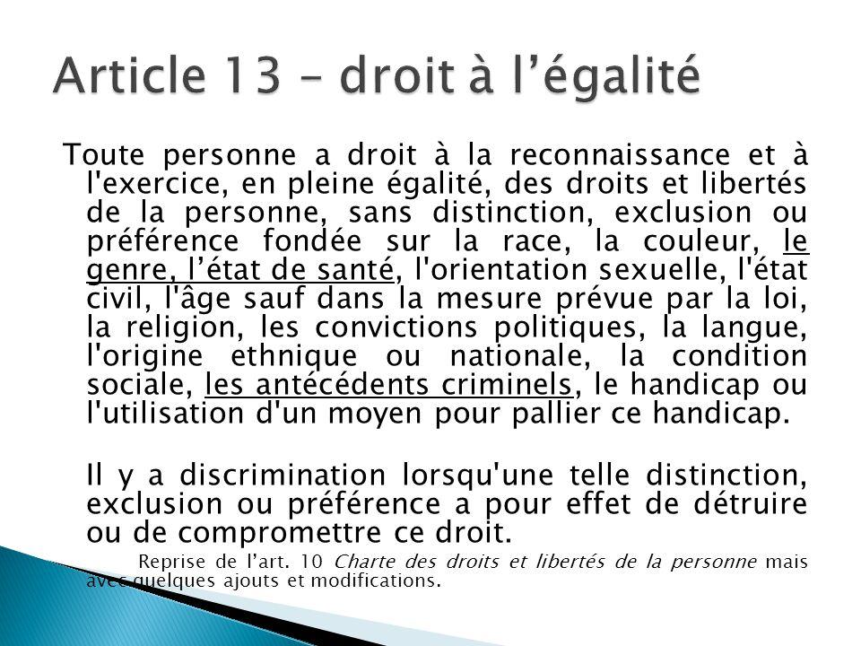 Article 13 – droit à l'égalité