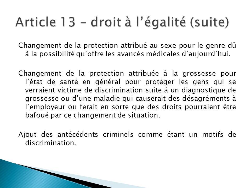 Article 13 – droit à l'égalité (suite)