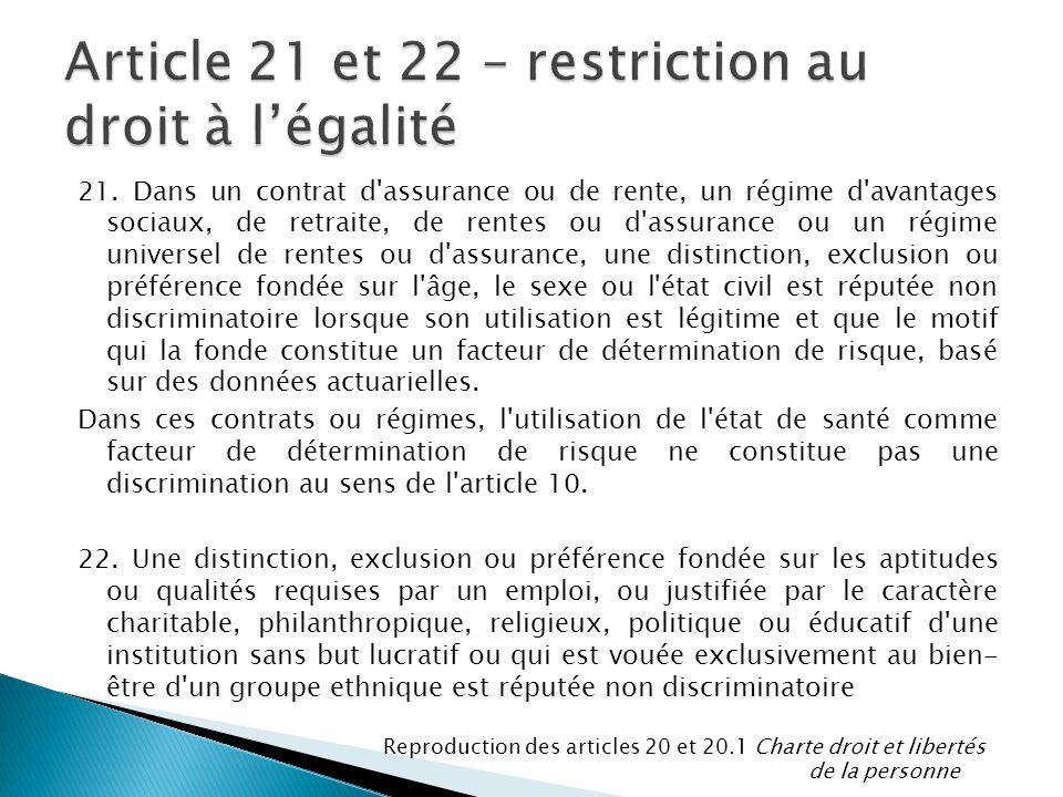 Article 21 et 22 – restriction au droit à l'égalité