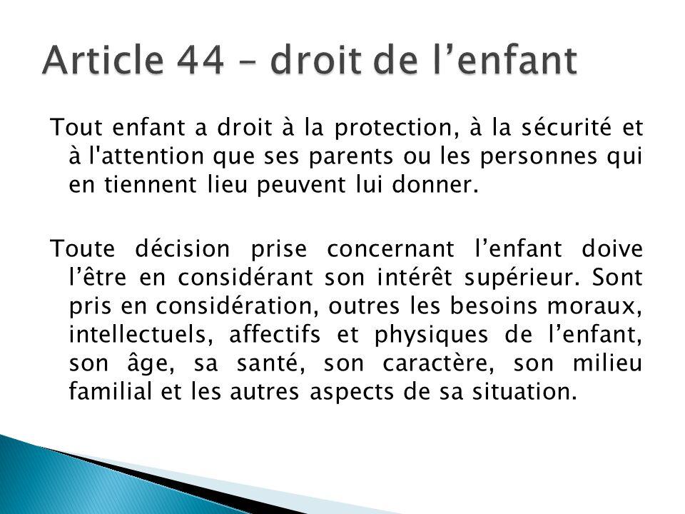 Article 44 – droit de l'enfant