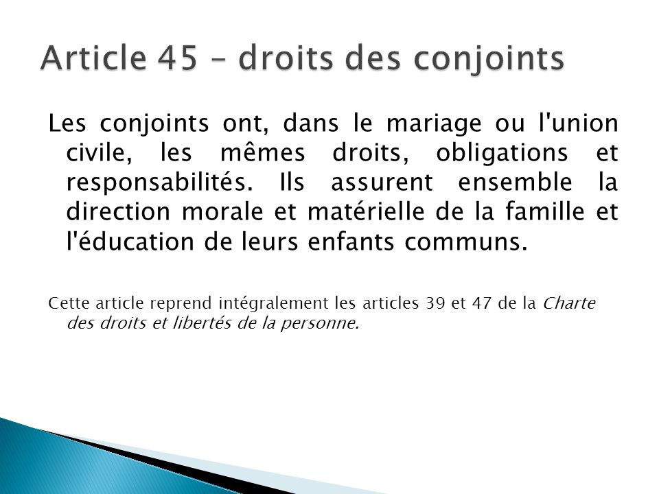 Article 45 – droits des conjoints