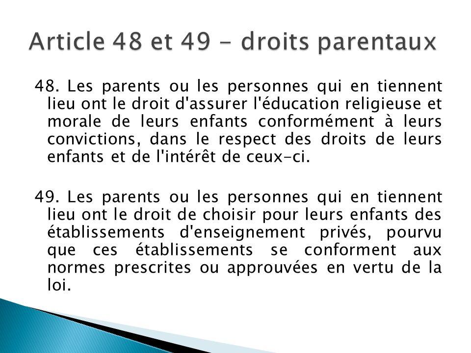Article 48 et 49 - droits parentaux