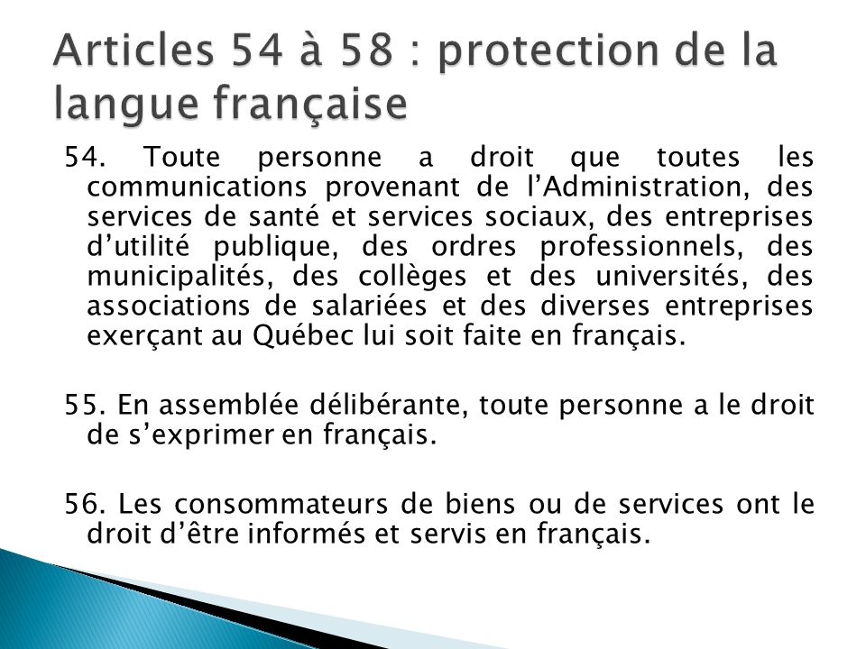 Articles 54 à 58 : protection de la langue française