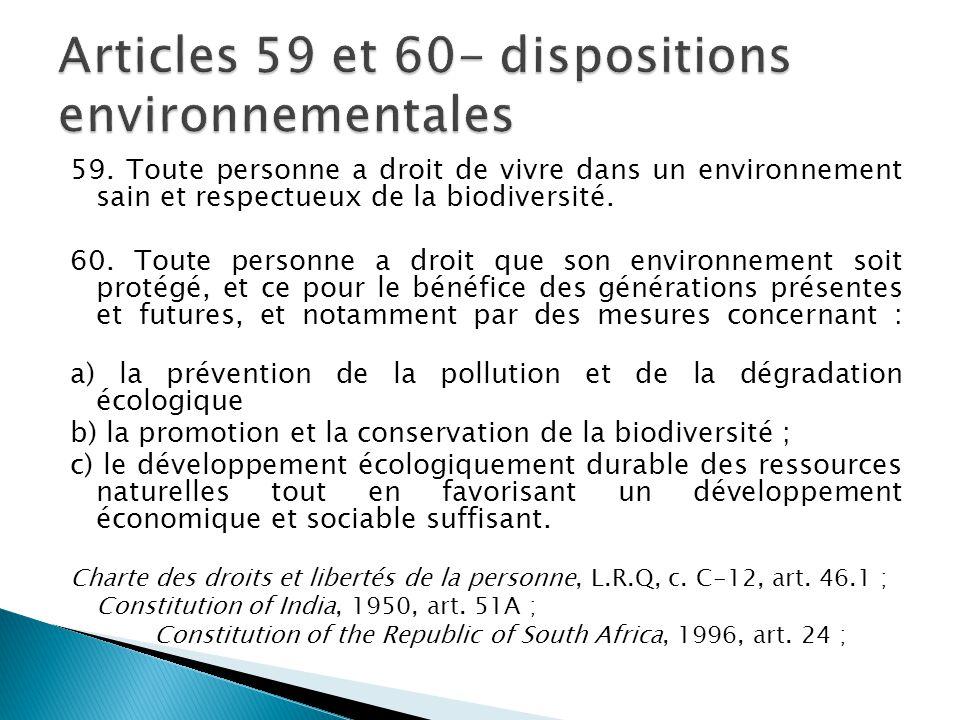 Articles 59 et 60- dispositions environnementales