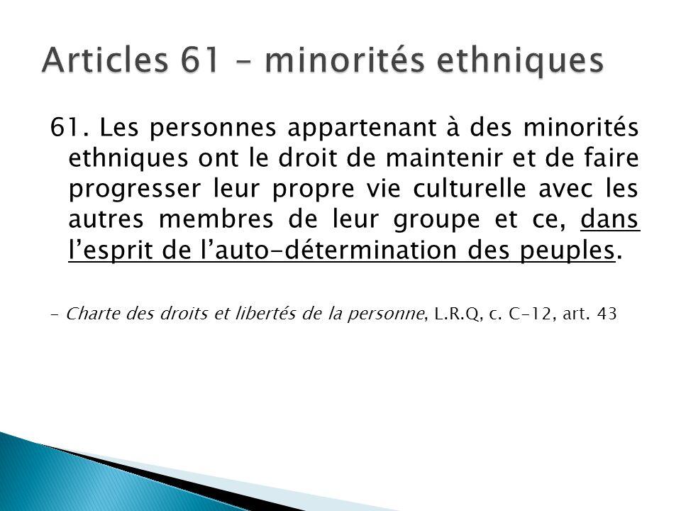 Articles 61 – minorités ethniques