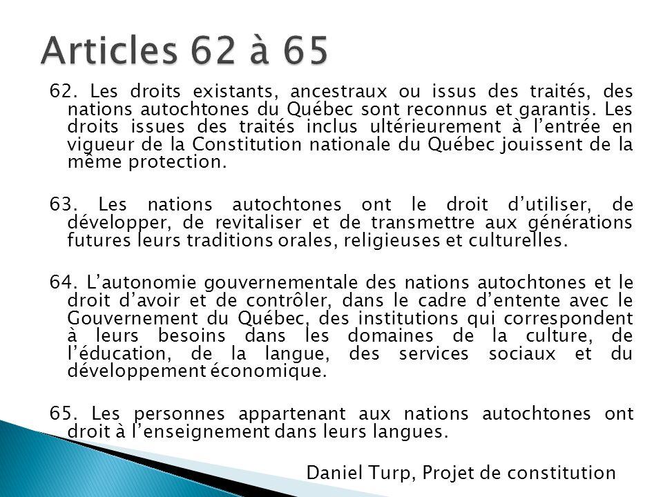 Articles 62 à 65