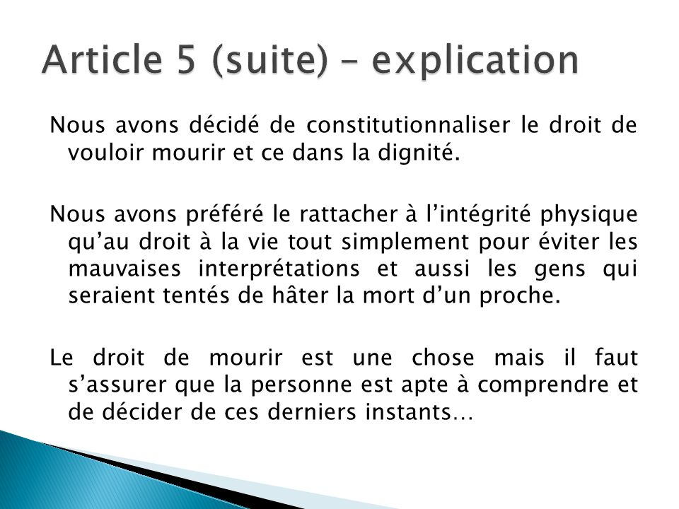Article 5 (suite) – explication