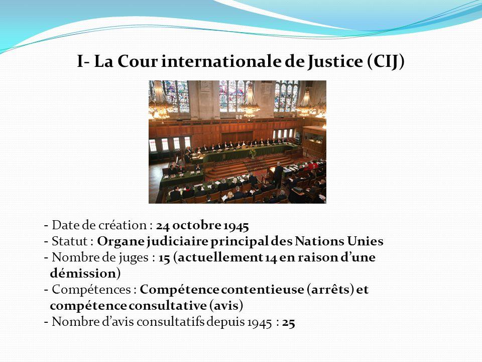 I- La Cour internationale de Justice (CIJ)