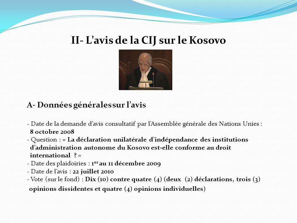 II- L'avis de la CIJ sur le Kosovo