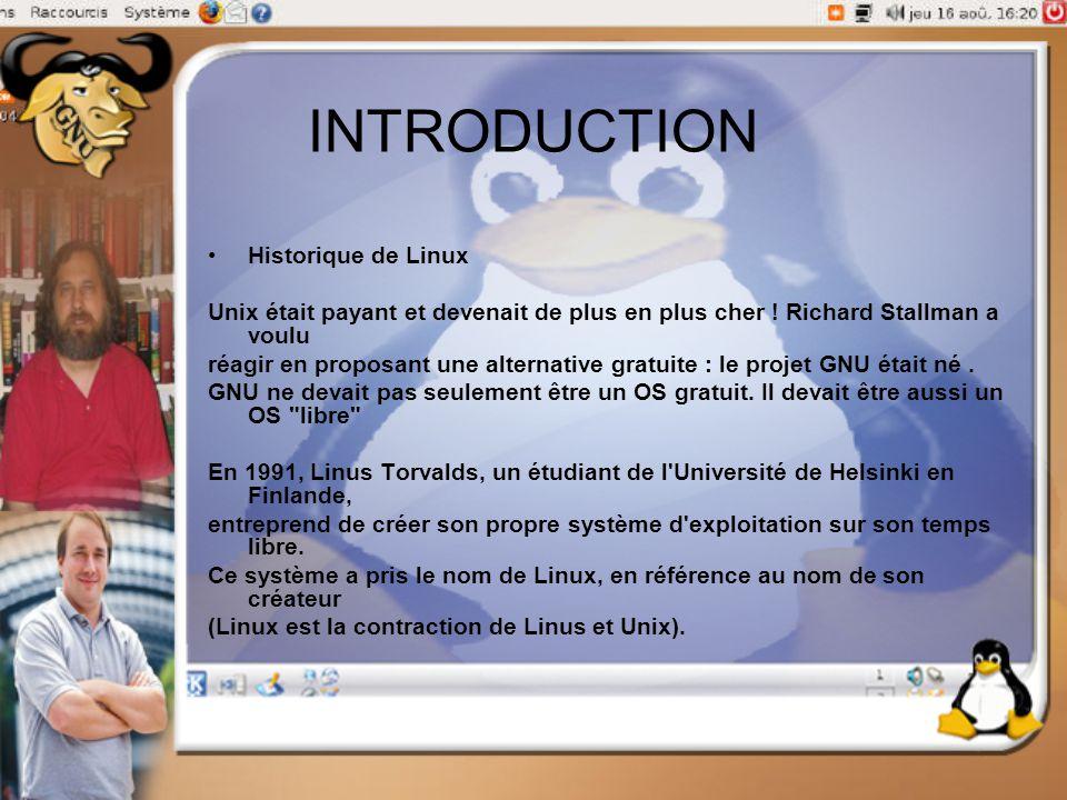 INTRODUCTION Historique de Linux