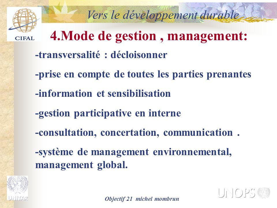 4.Mode de gestion , management: Objectif 21 michel mombrun