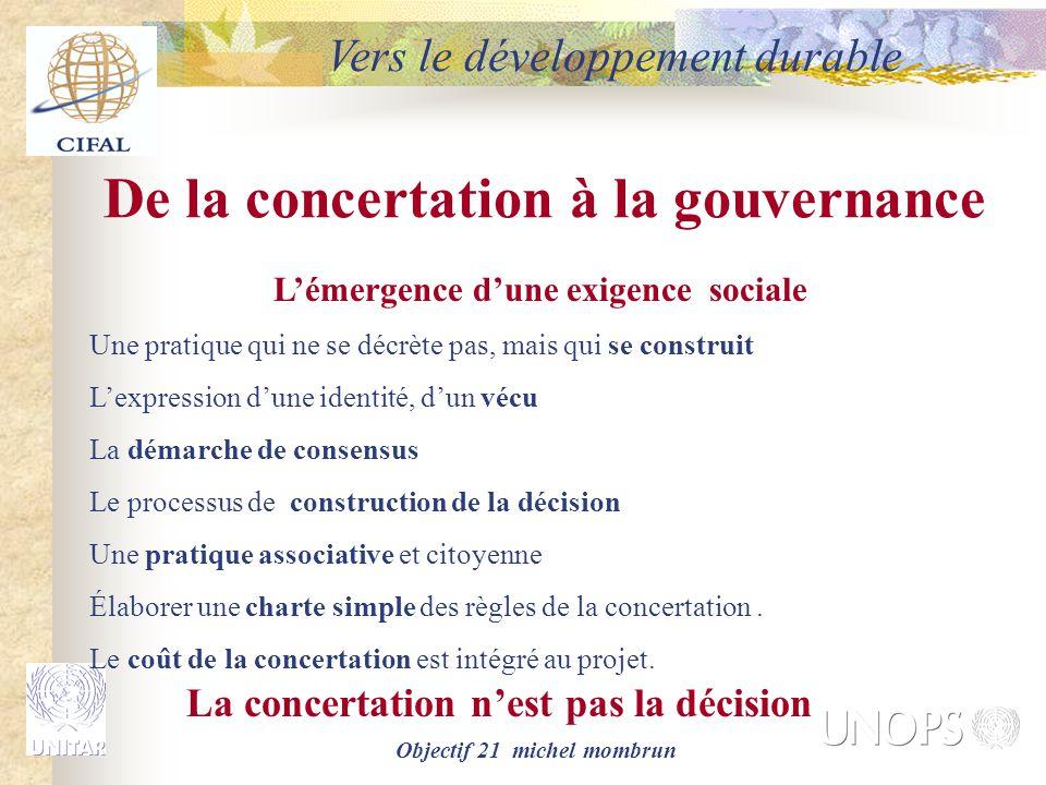De la concertation à la gouvernance