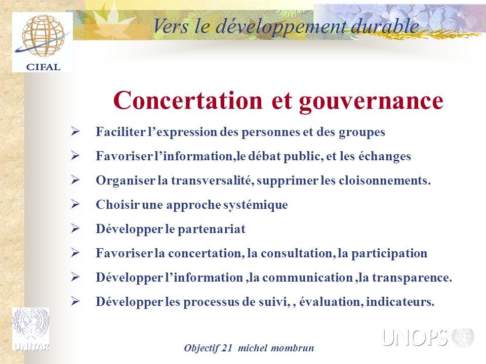 Objectif 21 michel mombrun Concertation et gouvernance