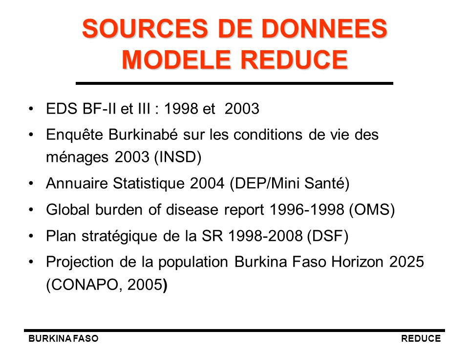 SOURCES DE DONNEES MODELE REDUCE
