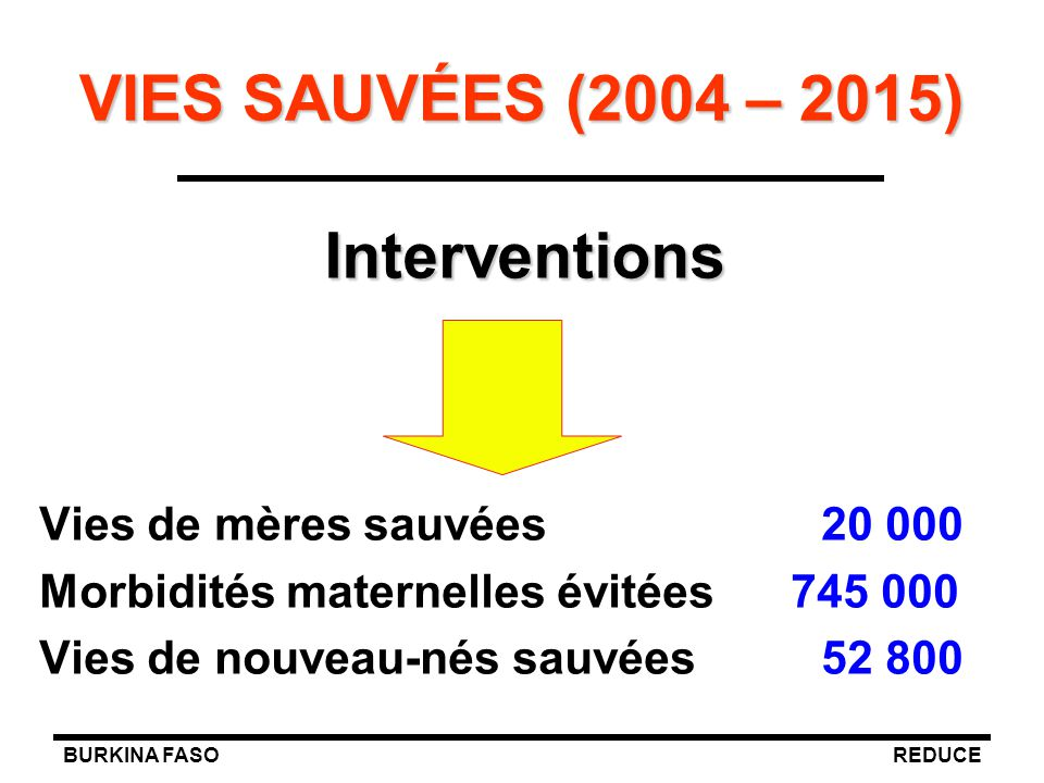 VIES SAUVÉES (2004 – 2015) Interventions