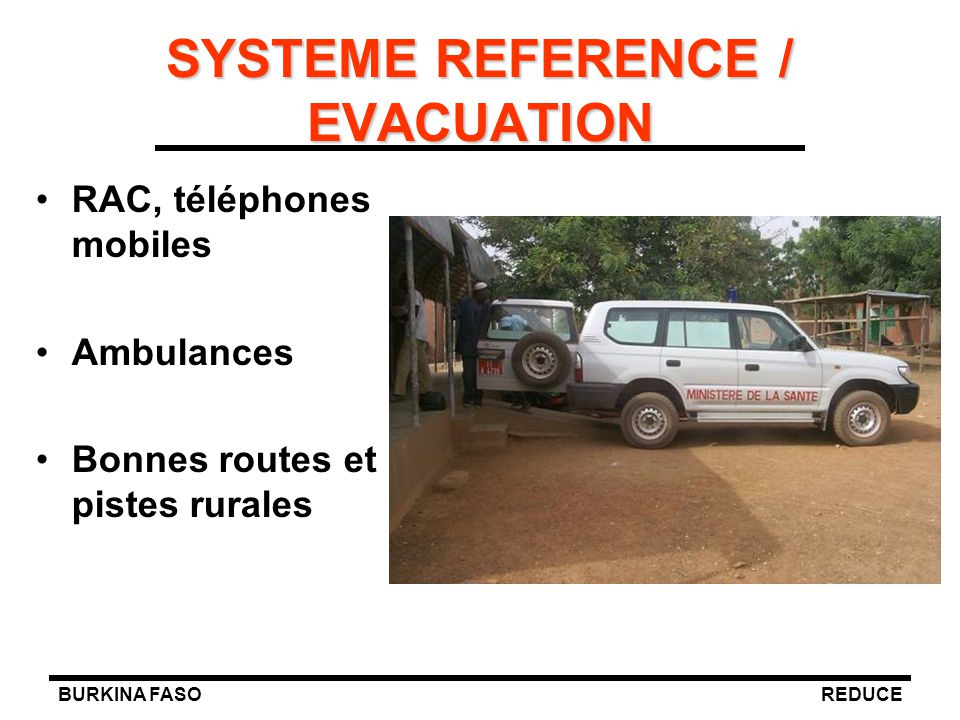 SYSTEME REFERENCE / EVACUATION