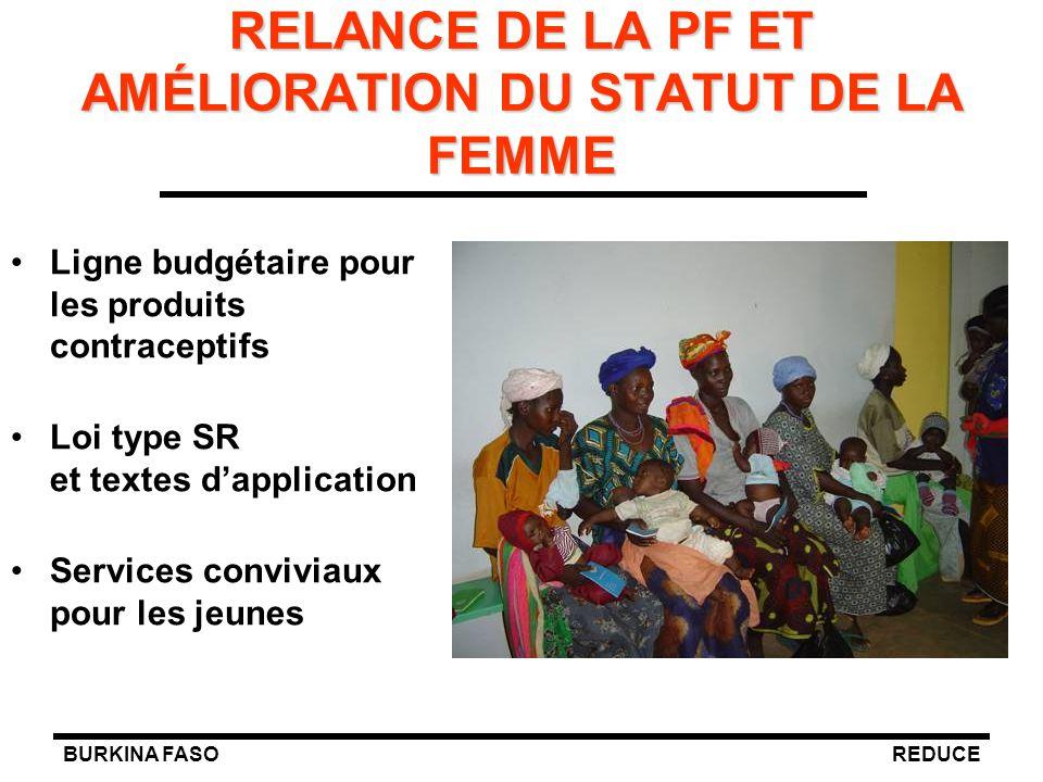 RELANCE DE LA PF ET AMÉLIORATION DU STATUT DE LA FEMME