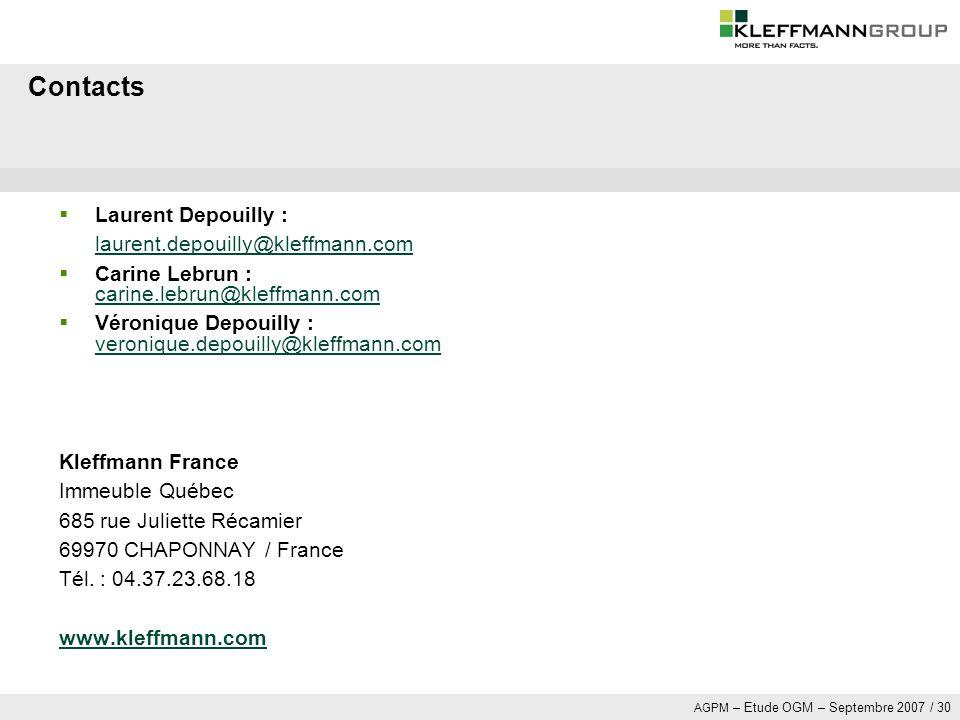 Contacts Laurent Depouilly : laurent.depouilly@kleffmann.com