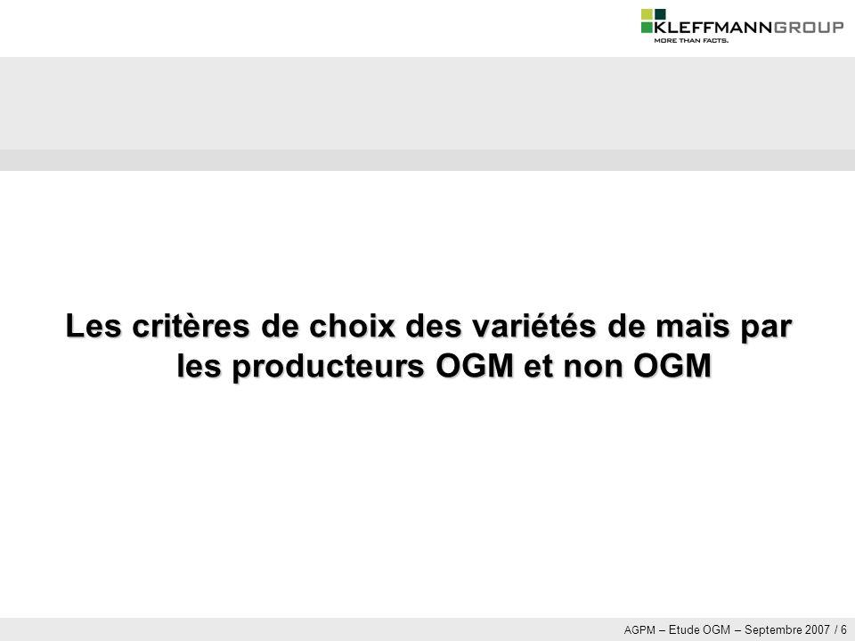 Les critères de choix des variétés de maïs par les producteurs OGM et non OGM