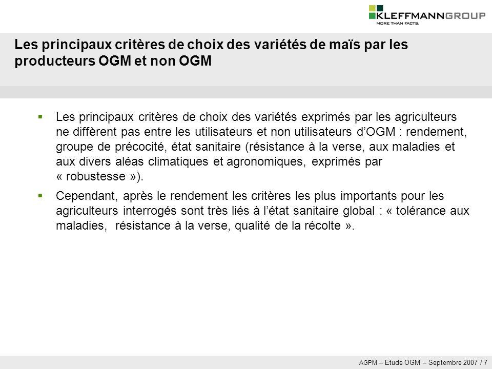 Les principaux critères de choix des variétés de maïs par les producteurs OGM et non OGM