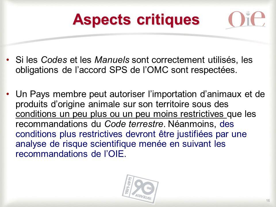 Aspects critiques Si les Codes et les Manuels sont correctement utilisés, les obligations de l'accord SPS de l'OMC sont respectées.